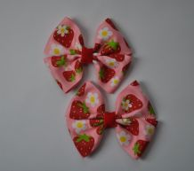 8.0 x 7.0 cm PINK STRAWBERRY Grosgrain Ribbon Bow
